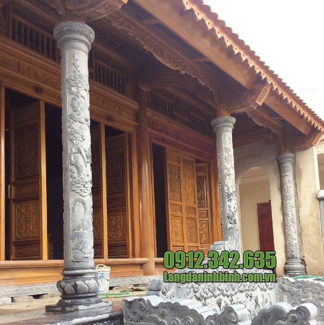 Cột đá hiên nhà thờ họ , từ đường đình làng, chùa