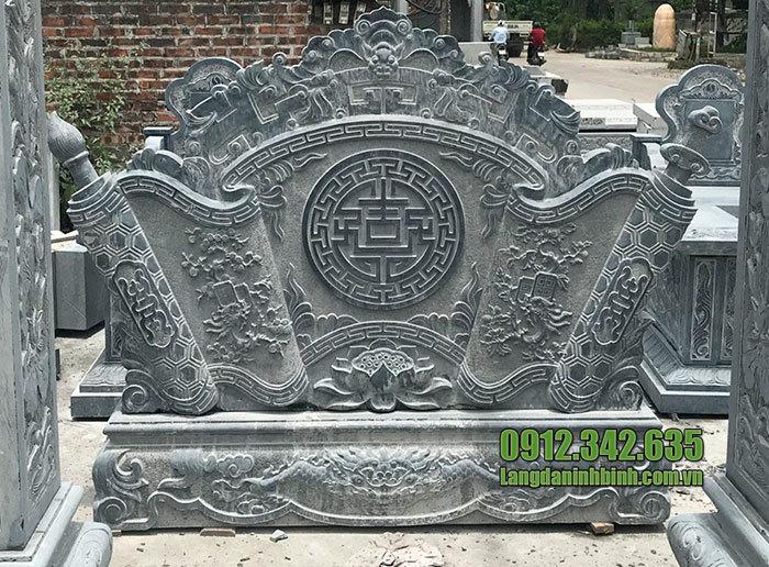 Mẫu bình phong cuốn thư bằng đá đẹp cho nhà thờ họ, khu lăng mộ
