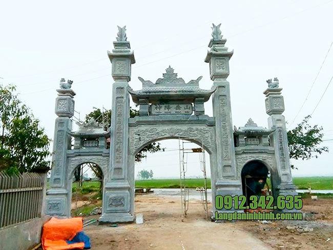 Mẫu cổng làng đẹp bằng đá