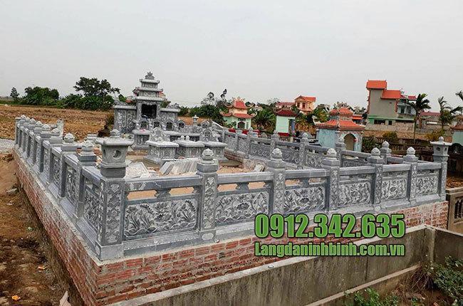 Mẫu khu lăng mộ đá gia tộc đẹp thiết kế chuẩn phong thủy