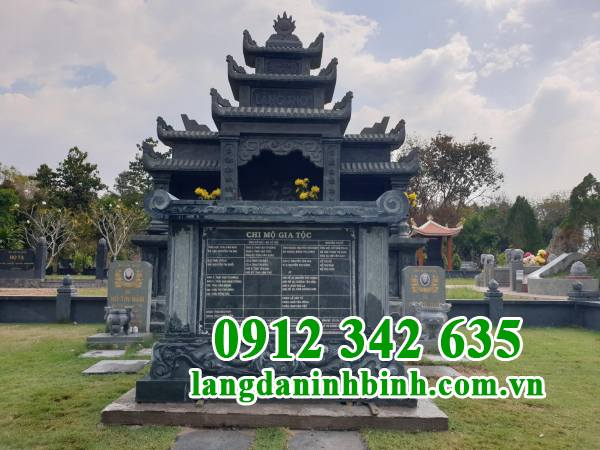 Mẫu mộ đôi bằng đá xanh rêu Thanh Hóa