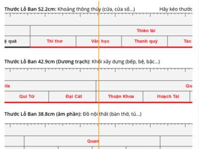 Thước Lỗ Ban online 52.2cm, 42.9cm, 38.8cm