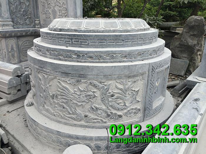 Mẫu xây mộ tròn bằng đá khối Ninh Bình
