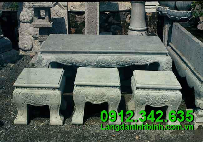 Bộ bàn ghế bằng đá - Công đức vào chùa, đình, đền, nhà thờ họ
