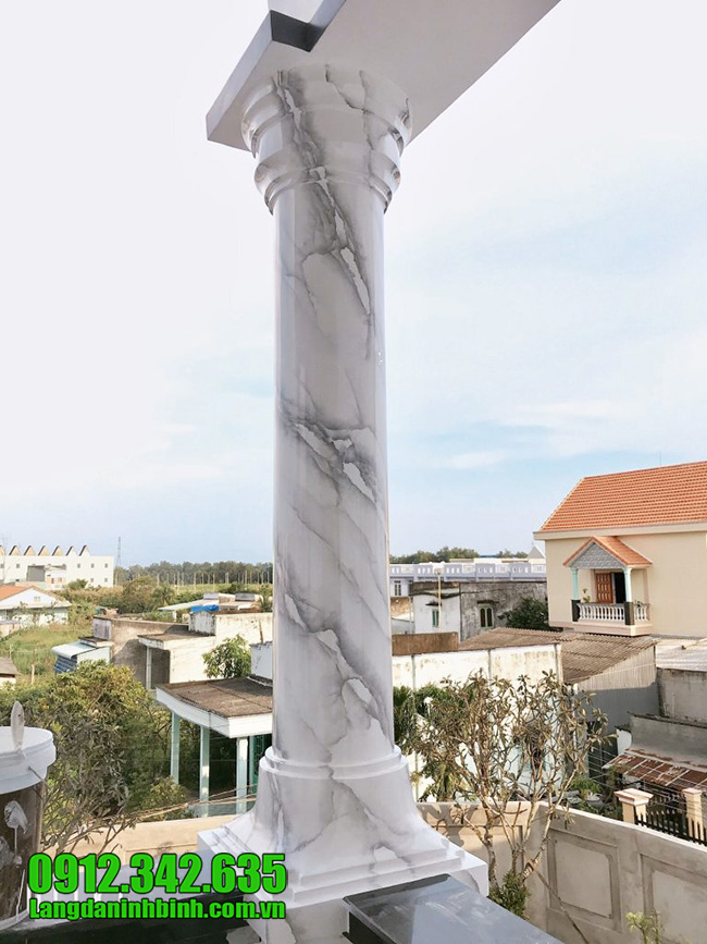 Mẫu cột đá trắng nhà biệt thự đẹp