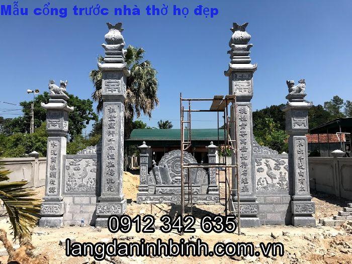 cổng đá nhà thờ họ đẹp, mẫu cổng đá đẹp, mẫu cổng từ đường đẹp
