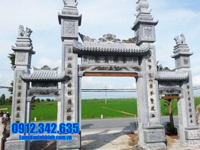 mẫu cổng tam quan bằng đá xanh