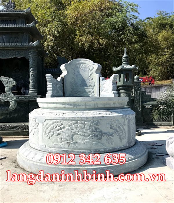 Mẫu mộ hình tròn bằng đá đẹp HT35