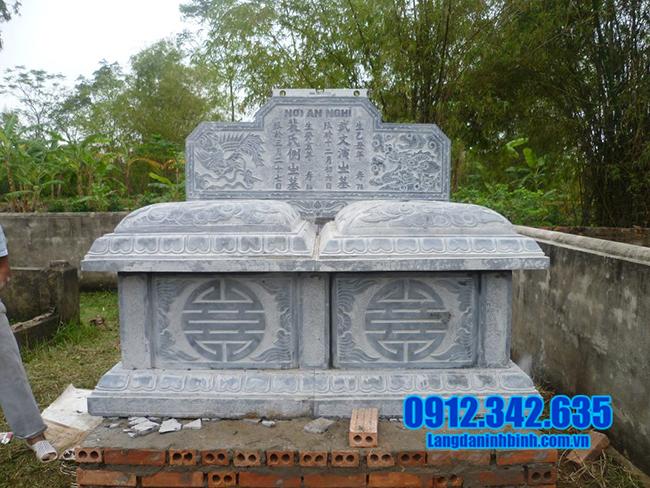 mẫu mộ đôi bằng đá xanh đẹp
