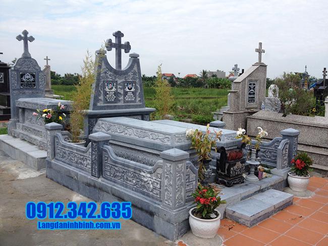 mẫu mộ công giáo bằng đá xanh