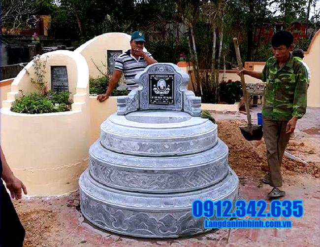 mẫu mộ tròn đá xanh đẹp