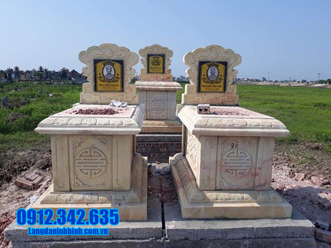 mẫu mộ đôi bằng đá vàng đẹp
