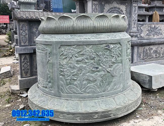 Hình ảnh mẫu mộ tròn bằng đá xanhh rêu đẹp
